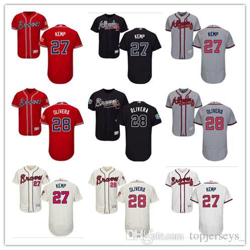 new style 918fa 5b1c9 custom Men's women youth Majestic Braves Jersey #28 Hector Olivera 27 Matt  Kemp Home Blue Red Baseball Jerseys