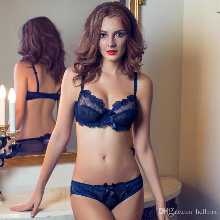 FRee gratuite Haute Qualité sexy dentelle transparente broderie bralette soutiens-gorge ensemble net soutien-gorge et culotte nouveau design set images