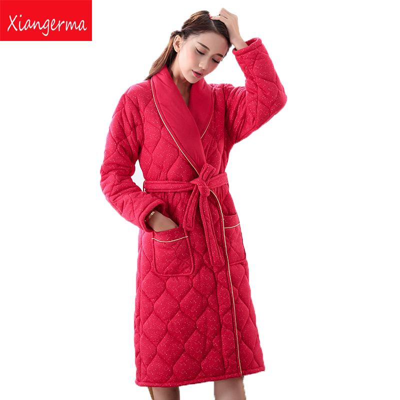 2019 Xiangerma Women Kimono Red Robes Women Floral Robes Pajamas Robe Bride Autumn  Winter Bathrobe Dressing Gown Cotton From Baicao f0f99a226
