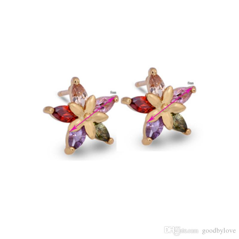 ce487b0f2e377 18K Gold Plated White/Multicolor CZ Five Petals Double Flowers Piercing  Stud Earrings Fashion Party Costume Jewelry for Women