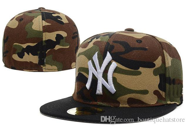 d6230eee8 Wholesale 2018 Men s camo fitted hat flat Brim embroiered team ny logo fans  baseball Hat top quality full closed Chapeu brands women bones