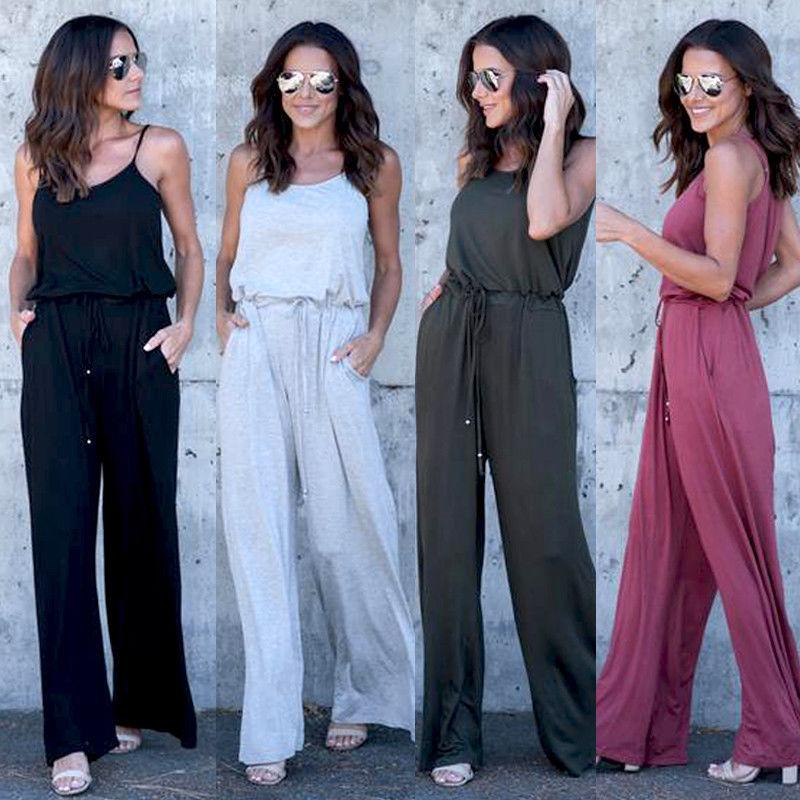 8185ecc403db 2019 New Fashion Summer Women Ladies Solid Clubwear Playsuit Bodycon Party  Jumpsuit Romper Trousers Wide Long Pants Sexy Clothes From Yyliang
