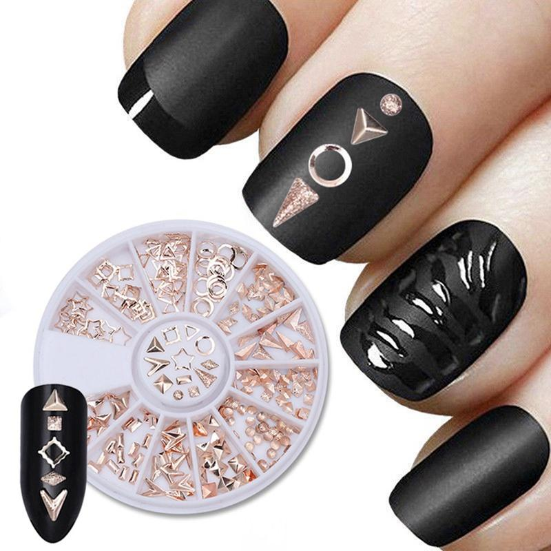 Rose Gold Geometry Studs 3d Nail Art Decorations Rivet Alloy Star