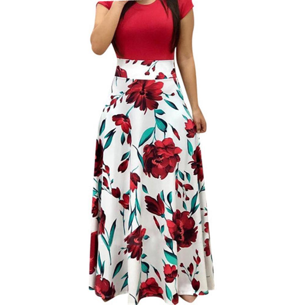 7560138598 Compre Vestido Largo De Las Mujeres Vestido De Verano Elegante Estampado  Floral Vestidos Largos Streetwear Playa Vestido De Fiesta 2019 Vestido  Sj071 A ...
