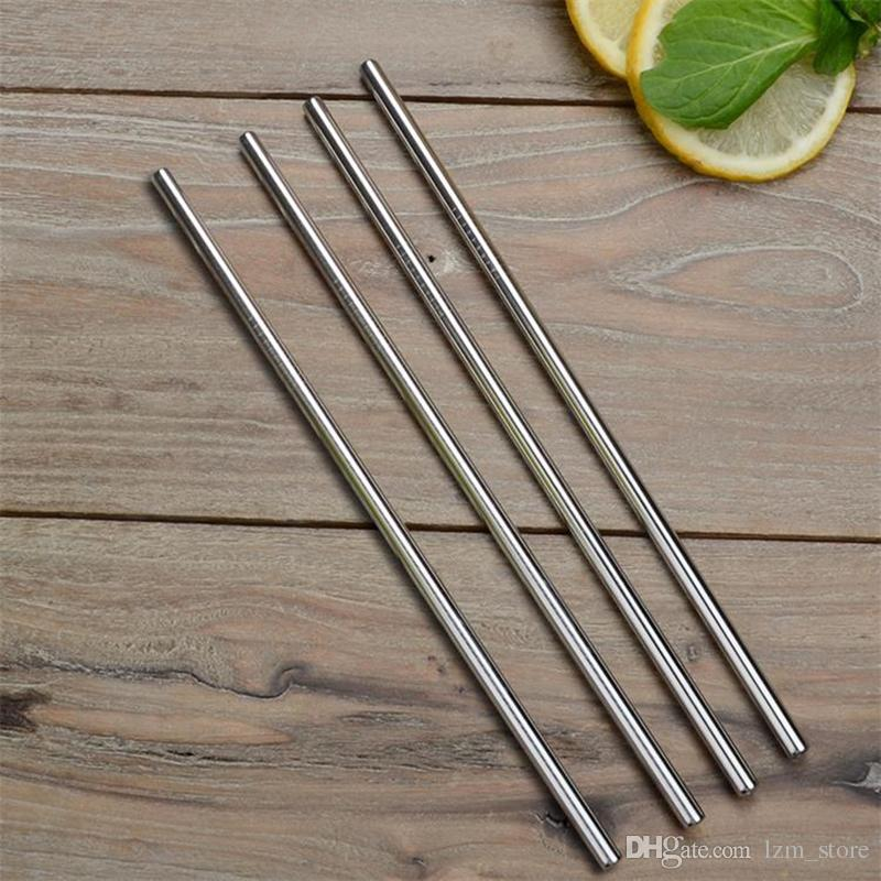 /Fast Shipping Stainless Steel Straw Reusable drinking straw straight and bend Straw Bar Drinks Party Stag 10.5""