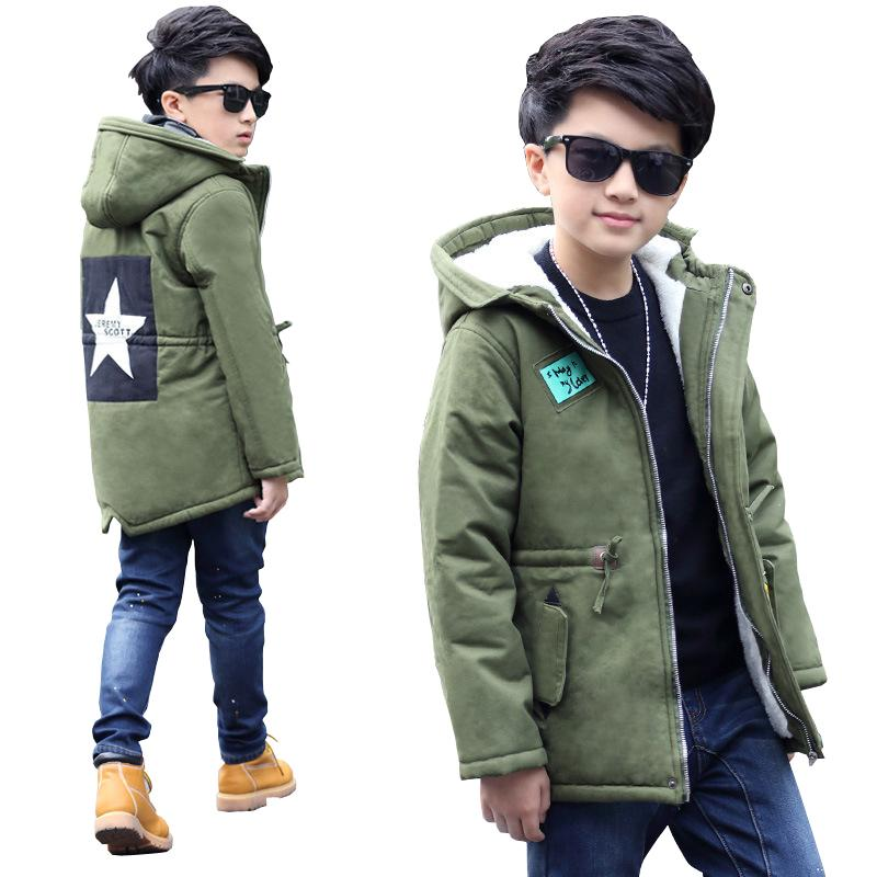7dfa5568cb0d Thick Winter Children Jackets Boys Coats Hooded Star Pattern Kids ...
