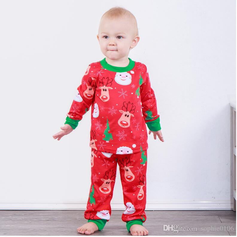 3b2acdff917f Boy Girl Santa Clause Head Milu Deer Printed Long Sleeve Set Baby ...