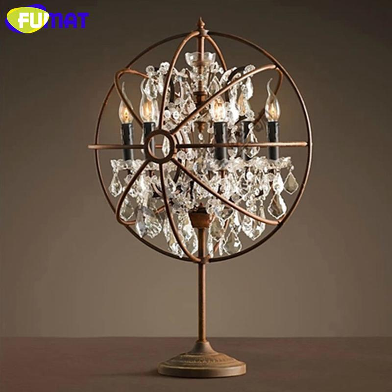 2018 Wholesale Industry Vintage Crystal Table Lamp Iron Rust Table Light  Desk Lamp LED Light Bedside Lamp For Living Room Bedroom From Tengdinglamp,  ...