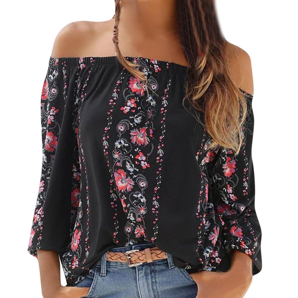 f92c648a8de54 2019 ISHOWTIENDA 2018 Fashion Top Summer Blouse Women Long Sleeve Floral  Print Off Shoulder Slash Neck Blouse Shirt Koszula Damska From Jingju