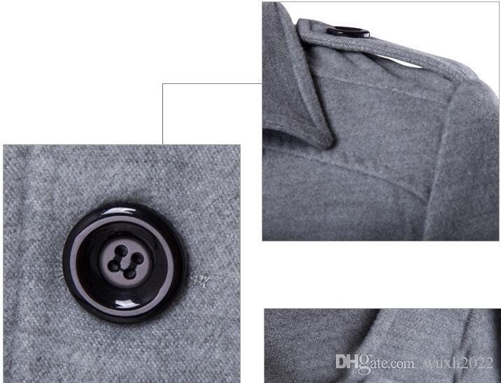 Hombres de invierno Slim Fit mezcla de lana Otoño sólido marca ropa chaqueta abrigo de lana Casual abrigo largo cuadros cálidos es