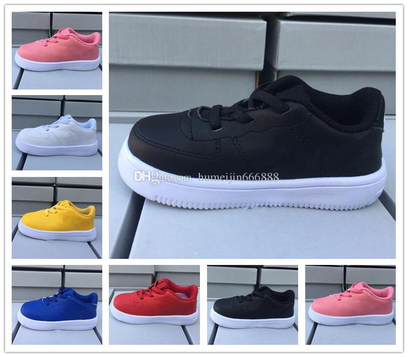on sale 50c8d 6f36c Acheter Nike Air Force 1 Af1 2018 Chaussures Pour Tout Petits Classique 1  One Tout Blanc Noir Gris Low Cut Garçons Filles Sport Sneakers Chaussures De  ...