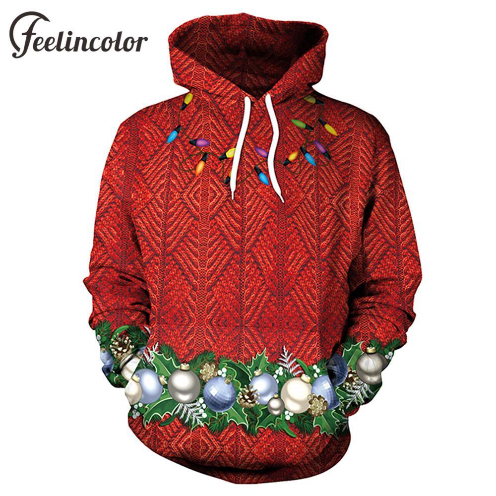 2018 feelincolor 2018 christmas hoodies mens 3d printed colored ball hoodie unisex light bulb streetwear pullover hoody from lichee666 2643 dhgatecom - Christmas Hoodie
