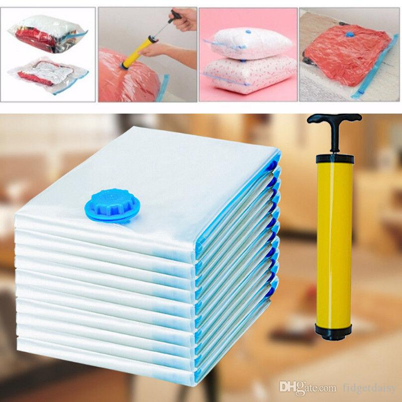 Hot !! Transparent Border Foldable Extra Large Vacuum Seal Storage Bags Space Saving Clothes Home Travel Compressed Bag Dustproof Compressed