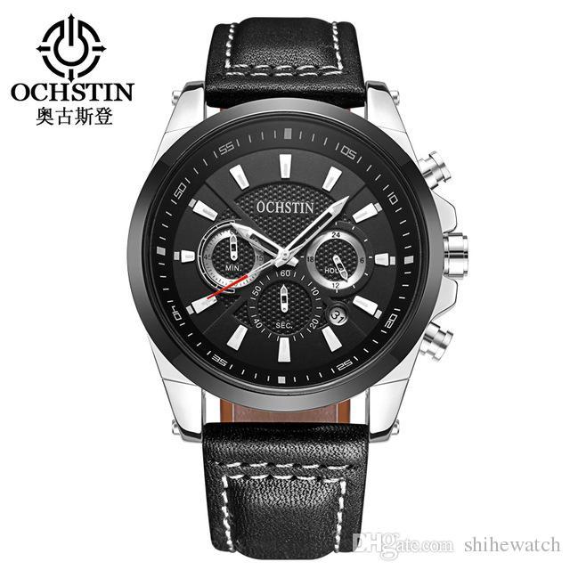 Compre Ochstin 065 Relojes Para Hombres Alta Calidad Auto Fecha Reloj De  Pulsera Cronógrafo Cronógrafo Cuarzo Reloj Deportivo De Cuero A Prueba De  Agua A ... 0bb58b16a187