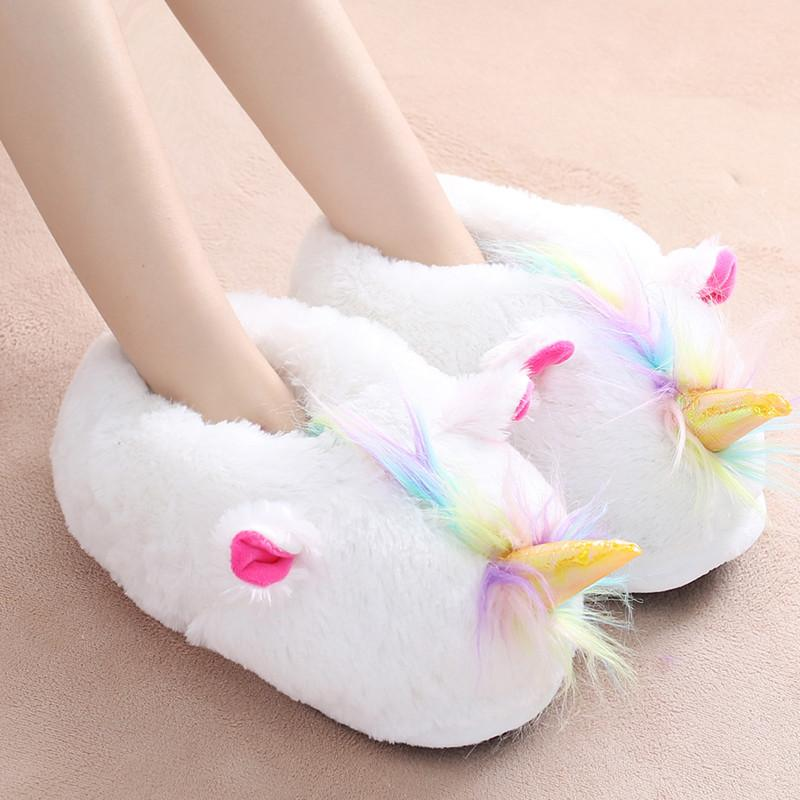 9c6052dfec604 New women winter home slippers cute cartoon unicorn indoor shoes furry  fluffy warm plush ladies house slides bedroom shoes