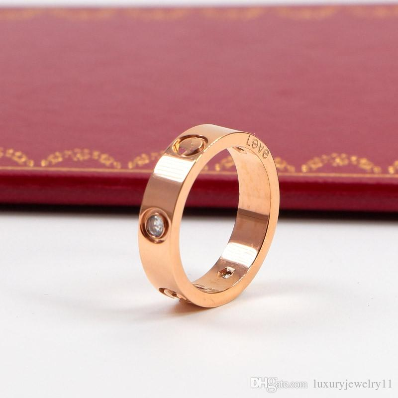 a4771d8bf 2019 Wholesale Price Women Men Famous Brand Crystal Jewelry Love Rings  Luxury Titanium Steel Rose Gold Bijoux Couple Lovers From Luxuryjewelry11,  ...