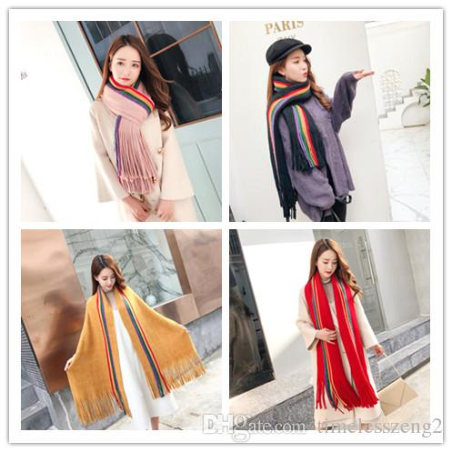Colorful Stripe Cashmere Scarves Tassels Scarf Large Size Autumn Winter Women Pashmina Classic Cashmere Shawl Free Shipping
