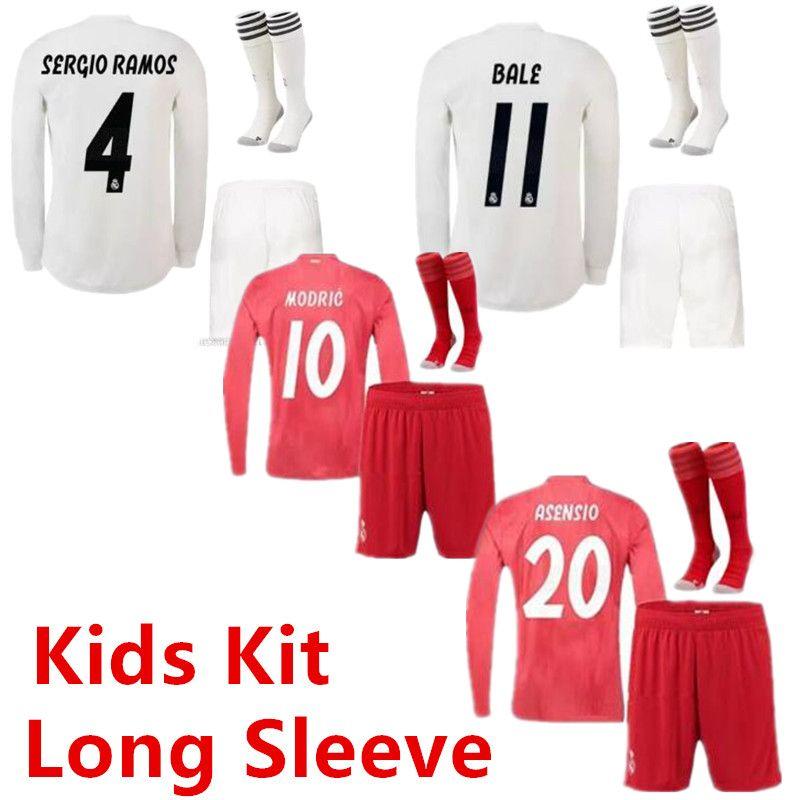 buy popular fe5aa 155ad 18 19 Real Madrid Long Sleeve Kids Jersey Home 2019 Vinicius MARIANO MODRIC  bale ASENSIO MARCELO SERGIO RAMOS Boys Away camiseta de futbol