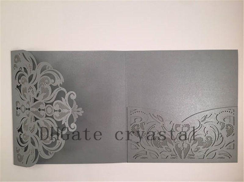 Pocket ONLY DIY Gorgeous Silver Shimmer Square Laser Cut Wedding Invitation DIY Laser Cut Wedding Invite