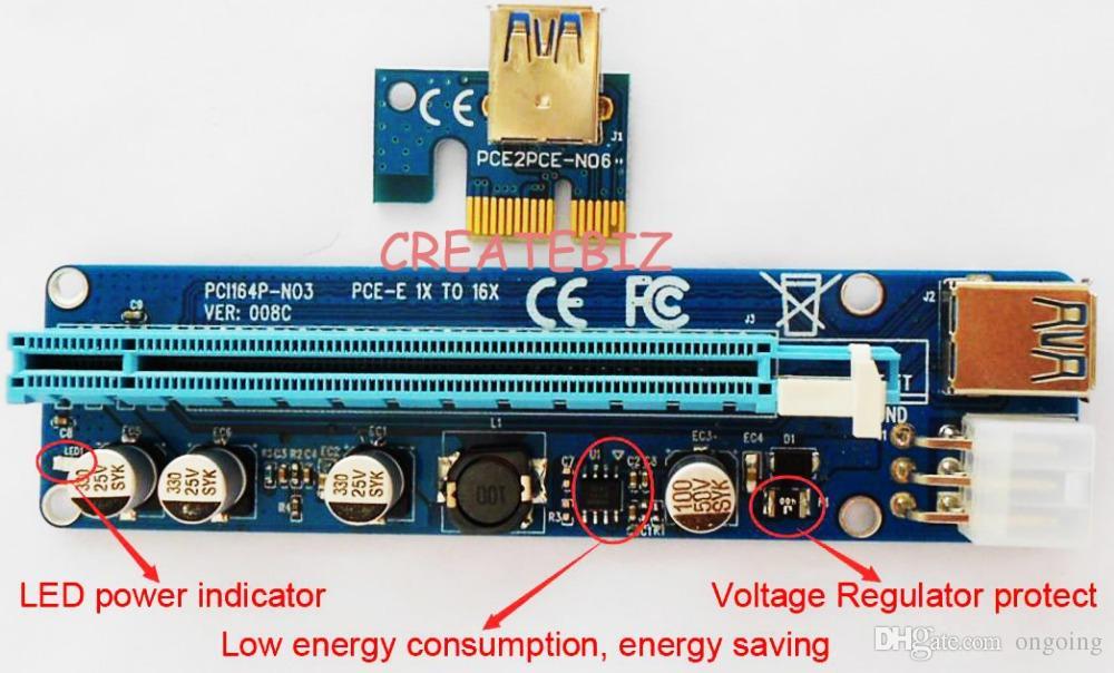 For BTC Ver 008C 60cm USB 3.Ie Riser Card PCI-E Express 1x to 16x Extender Riser Card USB Adapter SATA 15Pin-6Pin Power Blue Black Cable