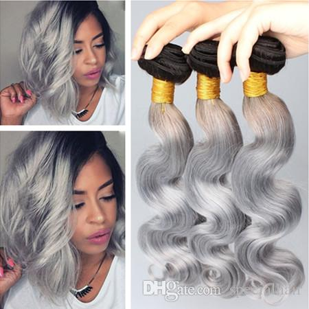 #1B/Grey Dark Root Ombre Brazilian Virgin Human Bundles Body Wave Black and Silver Grey Ombre Human Hair Weave Extensions 3Pcs Lot