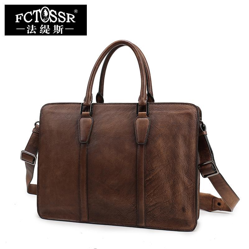 d5bdc3fc5434 Business Handbag Genuine Retro Leather 2018 Men Leisure Satchel Shoulder  Bag Handmade Natural Leather Men s Briefcase Laptop Bag