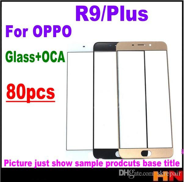 80pcs DHL For OPPO R9 Plus Front Outer Screen Glass Lens with OCA together  Repair Touch Screen Outer Glass Black/Gold/White pink