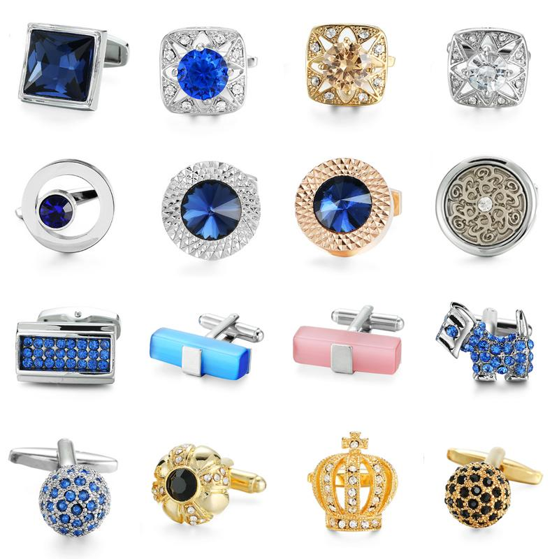 95497b02e6aa 2019 XKZM Brand Cuff Links Luxury Blue Glass Cufflinks For Mens High Quality  Round Crystal Cufflinks Shirt Cuff Button Wedding Gift From Haydene, ...