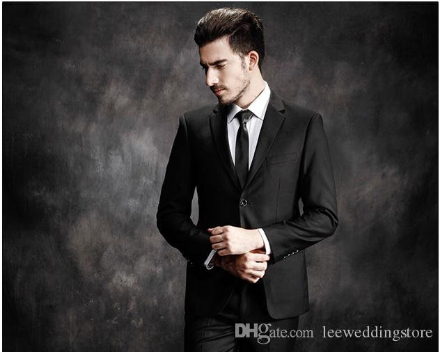 Handsome Black Gentle Costume Business Man Smart Casual Slim Fit Men Suits Custom Made Plus Size Wedding Suits Party Best Man Groom Wear