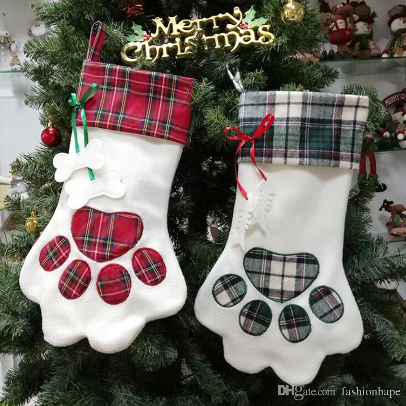 Christmas Stockings Christmas Tree Creative Dog Claw Socks Gift ...