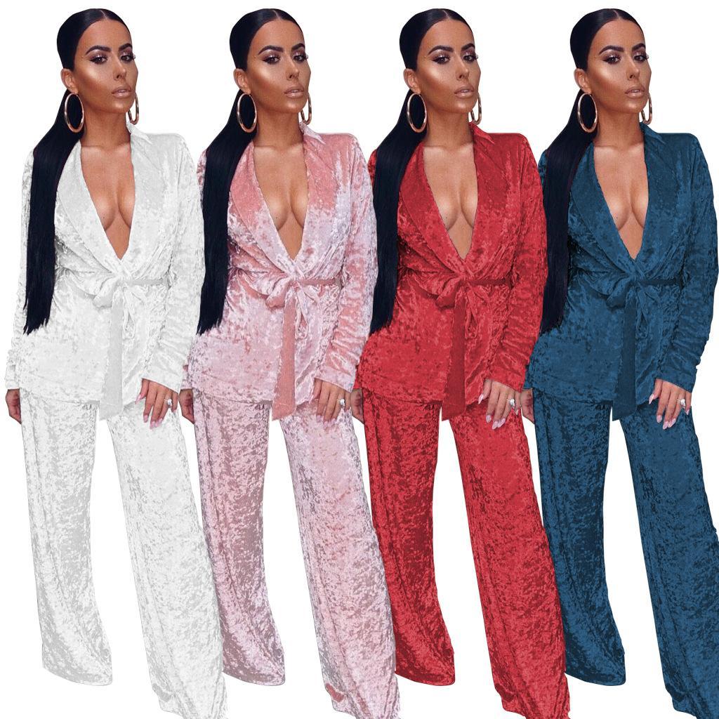 Vendita calda inverno donne sexy si adatta 2 pezzi set donne velluto manica lunga signore due pezzi vestito slash neck set di pantaloni WDC1045