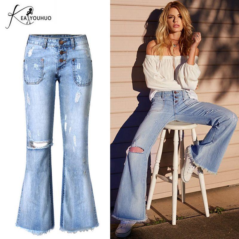 021c0f9e6099a1 Acquista Jeans Strappati Strappati A Campana Jeans Con Fondo A Campana Da Donna  Pantaloni Larghi Blu A Gamba Larga Vintage Pantaloni Jeans A Vita Bassa ...