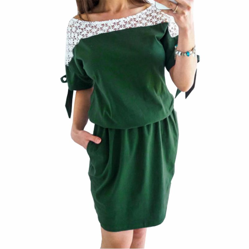 93cb8400a780 Hollow Out Bow Pockets Patchwork Lace Summer Dress Women s Fashion ...