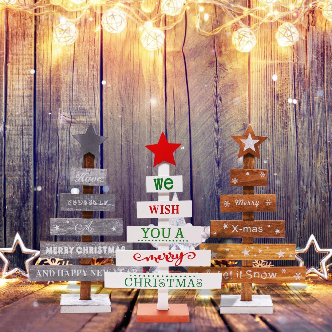 Diy Creative Wooden Christmas Tree Ornaments Office Home Bedroom Desktop Decoration Xmas Gift