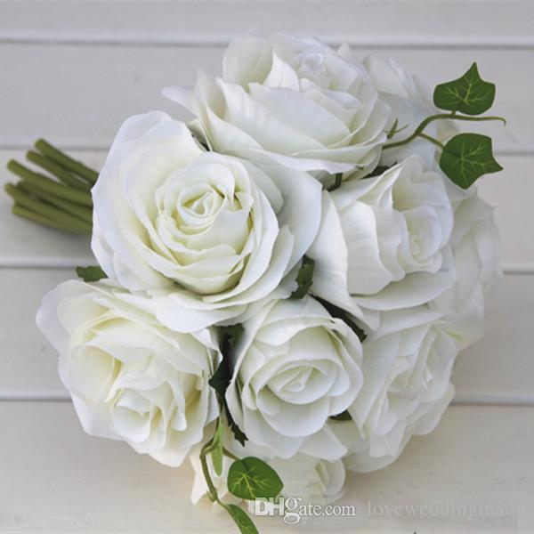 2019 Mezcla barata Boda artificial Rose Flower Boda Ramo de novia de alto nivel Flor de país que se envía libre Venta caliente