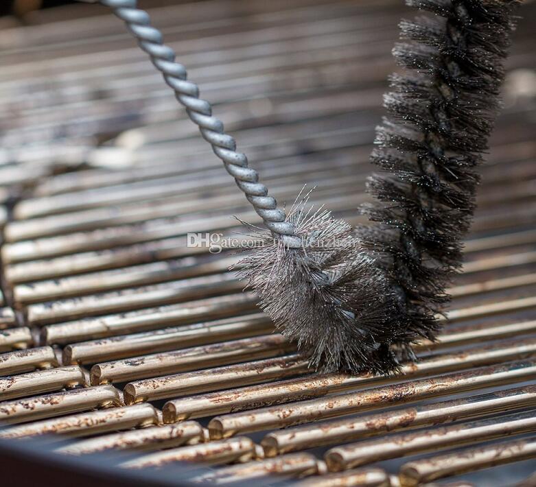 12 بوصة 3-sided شواء شواء فرشاة غير عصا الشواء شواء فرشاة المقاوم للصدأ أسلاك شعيرات تنظيف فرش مع مقبض دائم