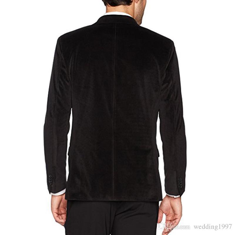 Abiti da uomo in velluto nero Abiti da uomo 2018 Vestibilità giacca a due pezzi con risvolto con risvolto Smoking da sposa su misura giacca + pantaloni
