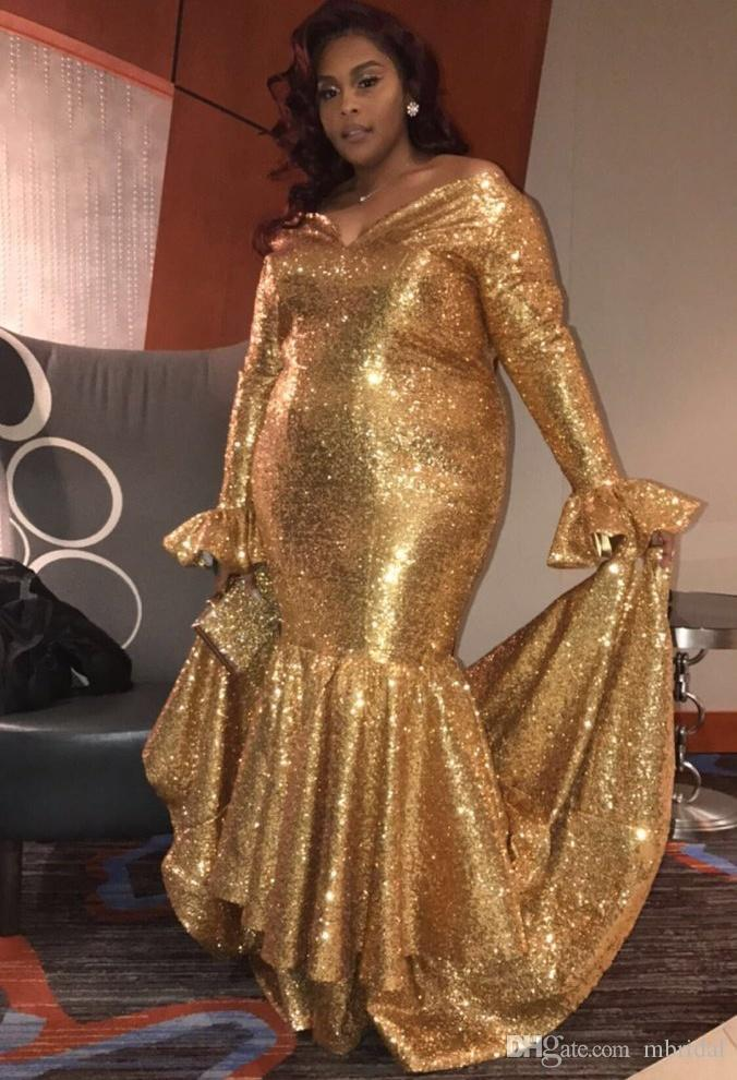 Plus Size Gold Mermaid Prom Dresses 2018 New Long Sleeve Sequin
