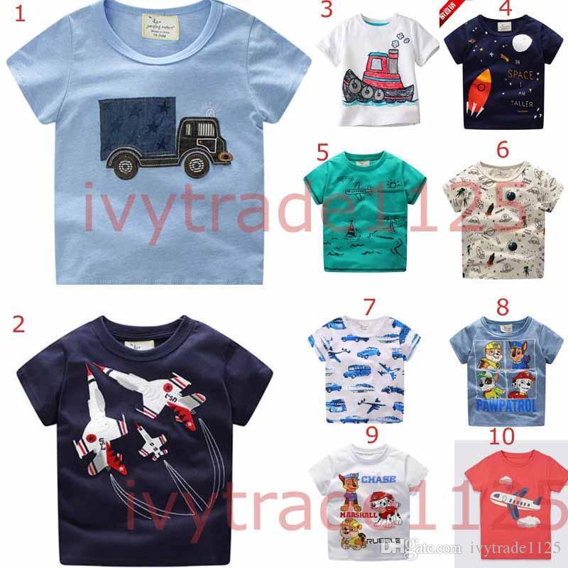Mais 100 estilos New Summer Menina Meninos Crianças 100% Algodão Manga Curta Carro Impressão T Camiseta Meninos Causal Verão Menina Unicorn T Shirt Navio Grátis