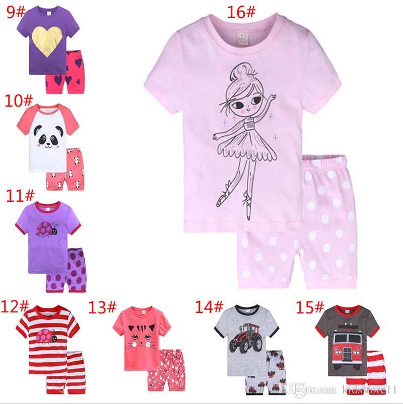 c842a97070fd 16Styles Summer Baby Boys Girls Pajamas Sets Cartoon Dinosaur ...