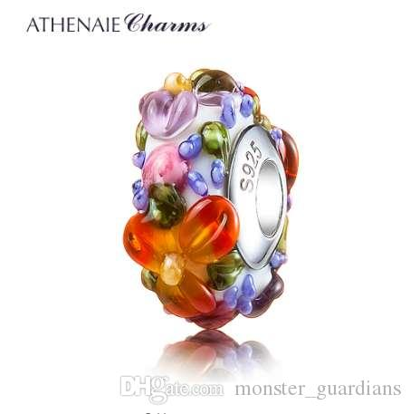 ATHENAIE Murano Glass 925 Silver Core Hawaiian Maui Floral Lei Charm Bead Fit Pandora Bracelet and Necklace Fashion DIY Jewelry