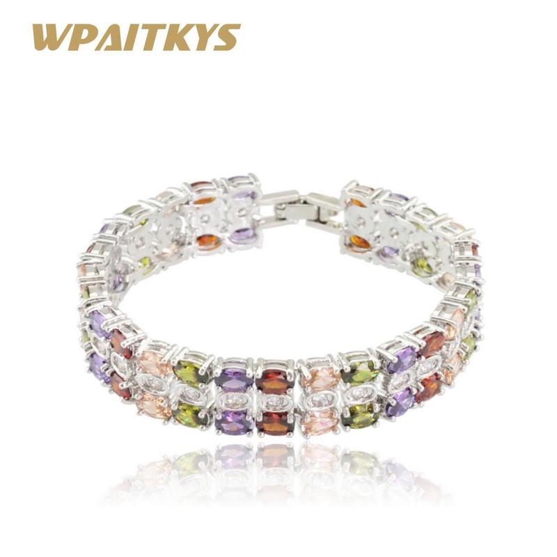 WPAITKYS Multicolor Kristall Silber Farbe Schmuck Sets Für Frauen Halskette Anhänger Armbänder Ohrringe Ringe Freies Geschenk Box