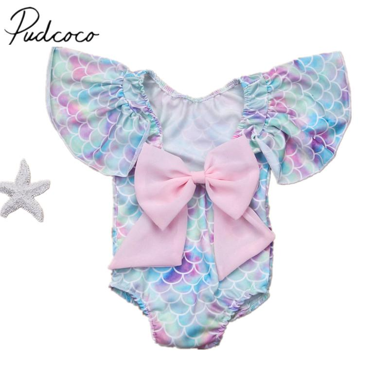 2018 Brand New Toddler Infant Child Kid Baby Girls Scales Leotard Costume Swimwear Swimsuit Bikini Set Bathing Bow Suit 6M-4T