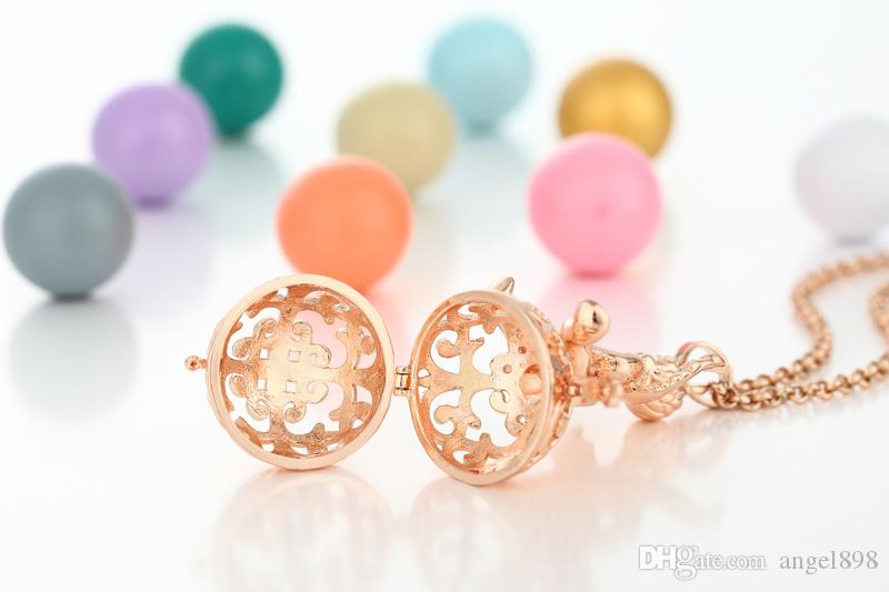 20.5mm Lucky Angel Design Bell Ball Necklaces DIY Aromatherapy Oil Cage Locket Sound Ball for Women and Baby Pendant