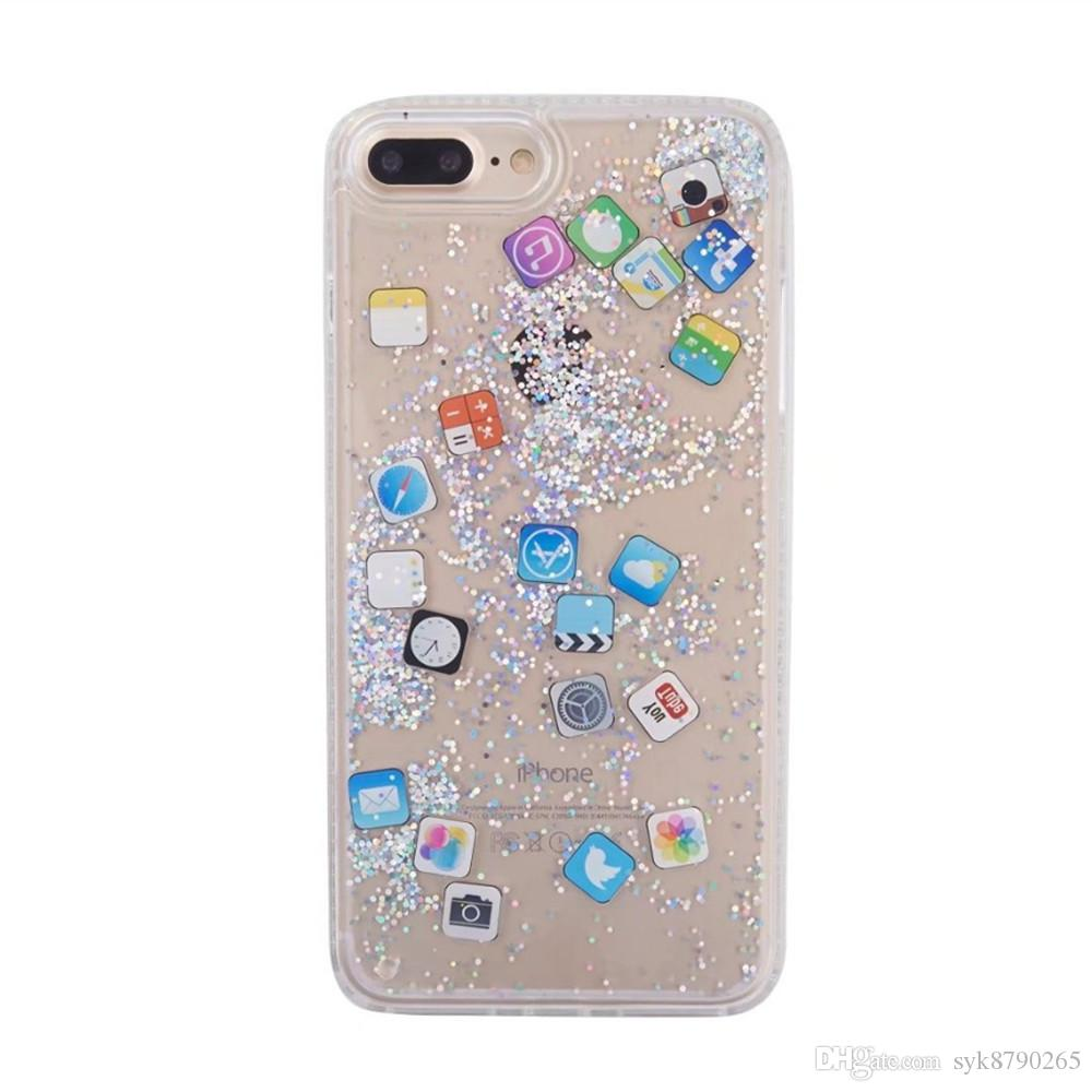 Amusing Mobile apps Icon pattern phone case For iphone X 7 Plus 6 Plus Glitter Quicksand Liquid Case For iphone 6 6S 7 8 Plus Back Cover