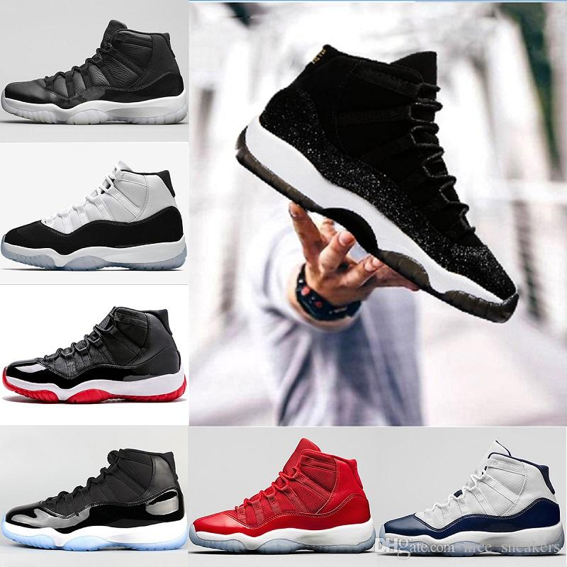 4bec73ed10e 2018 Men 11 11s Basketball Shoes Heiress Black UNC White Gym Red Space Jam  Concord Bred Mens Womens Sports Sneakers US 5.5 13 Sneakers Men Buy Shoes  Online ...