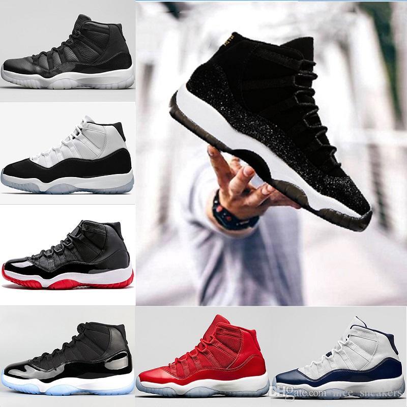 4d8cc92f89d80a 2018 Men 11 11s Basketball Shoes Heiress Black UNC White Gym Red ...