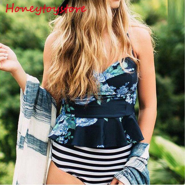 Mulheres Ruffled duas Peças Maiô Biquíni 2018 Swimwear Mulheres Push up Floral Impressão Sutiã de Banho Beachwear Monokini Biquinis