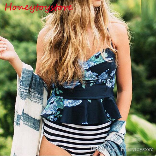 Women's Ruffled two Pieces Swimsuit Bikini 2018 Swimwear Women Push up Floral Print Bra Bathing Beachwear Monokini Bikinis