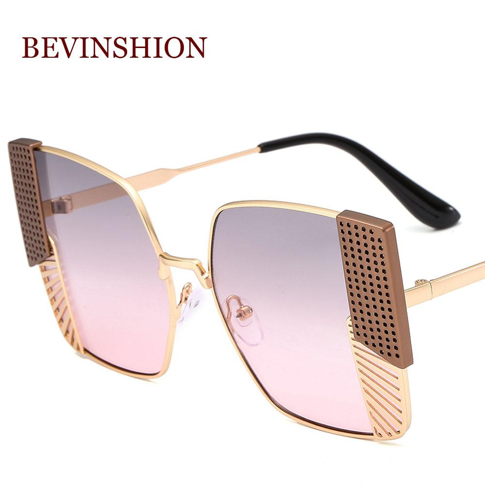 9c96646013a6 New Brand Oversized Square Sunglasses Men Metal Designer Mesh Grid Flat  Frame Tricolor Big Glasses Women Vintage Luxury Goggles Cat Eye Sunglasses  Round ...